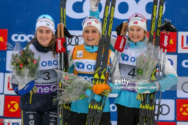 Therese Johaug of Norway takes 1st place Ebba Andersson takes 2nd place Ingvild Flugstad Oestberg of Norway takes 3rd place during the FIS Nordic...