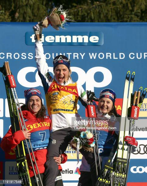 Therese Johaug of Norway takes 1st place Heidi Weng of Norway takes 2nd place Ingvild Flugstad Oestberg of Norway takes 3rd place during the FIS...