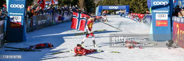 Therese Johaug of Norway takes 1st place Heidi Weng of Norway takes 2nd place Ingvild Flugstad Oestberg of Norway takes 3rd place Natalia Nepryaeva...