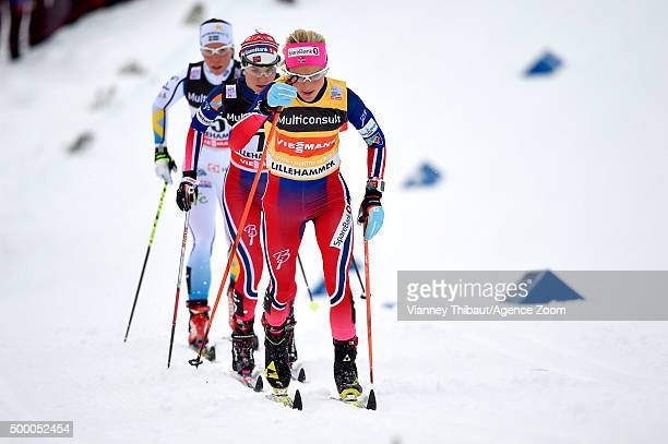 Therese Johaug of Norway takes 1st place Heidi Weng of Norway takes 2nd place Charlotte Kalla of Sweden takes 3rd place during the FIS Nordic World...