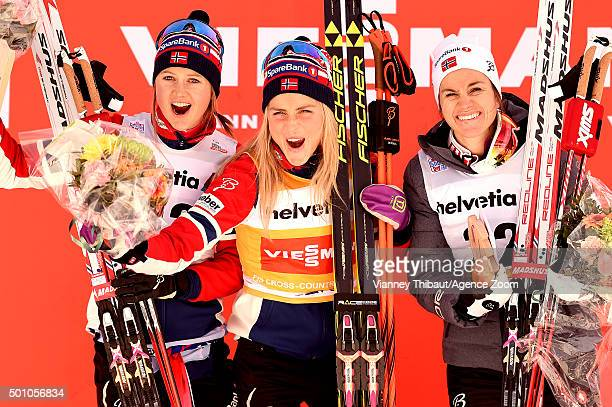 Therese Johaug of Norway takes 1st place Ingvild Flugstad Oestberg of Norway takes 2nd place Heidi Weng of Norway takes 3rd place during the FIS...