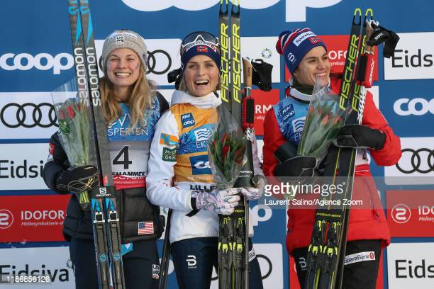 Therese Johaug of Norway takes 1st place Jessica Diggins of USA takes 2nd place Heidi Weng of Norway takes 3rd place during the FIS Nordic World Cup...