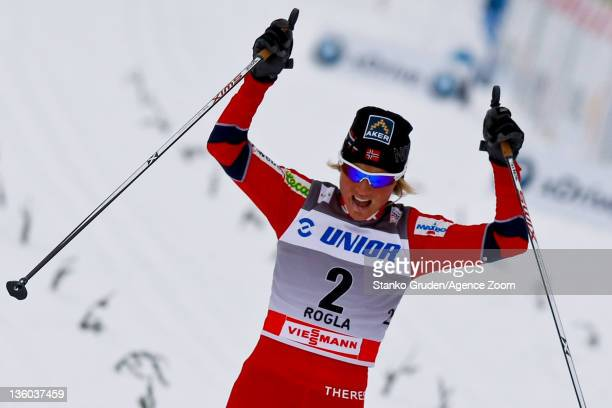 Therese Johaug of Norway takes 2nd place during the FIS Cross Country World Cup Women's 10km Mass Start on December 17 2011 in Rogla Slovenia