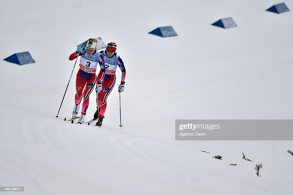 Therese Johaug of Norway takes 2nd place, Heidi Weng of Norway takes 3rd place during the FIS Cross-Country World Cup Men's 15 km and Women's 10km Pursuit on December 07, 2014 in Lillehammer, Norway.