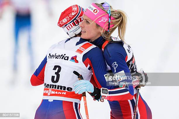 Therese Johaug of Norway takes 3rd place during the FIS Nordic World Cup Men's and Women's Cross Country Tour de Ski on January 9 2016 in Val di...
