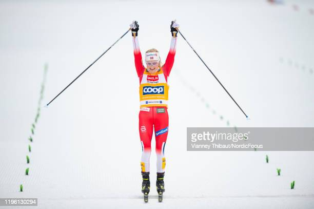 Therese Johaug of Norway takes first place during the men's/women's skiathlon at the FIS nordic world cup Oberstdorf on January 25 2020 in Oberstdorf...