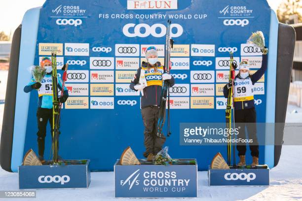 Therese Johaug of Norway takes second place, Jessie Diggins of USA takes first place, Ebba Andersson of Sweden takes third place during the Women's...