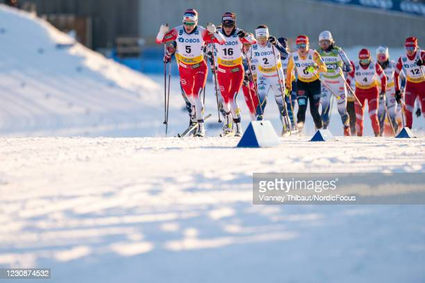 Therese Johaug of Norway takes third place during the Women's 10km C at the Coop FIS Cross-Country World Cup Falun at on January 30, 2021 in Falun,...