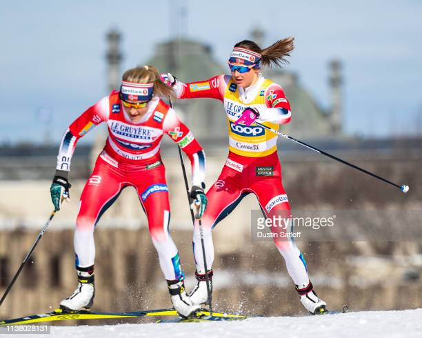 Therese Johaugcompetes in the Women's 10km freestyle pursuit during the FIS Cross Country Ski World Cup Final on March 24, 2019 in Quebec City,...