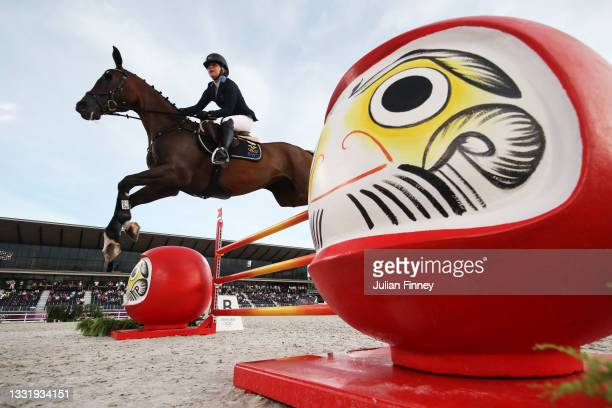 Therese Viklund of Team Sweden riding Viscera competes during the Eventing Jumping Team Final and Individual Qualifier on day ten of the Tokyo 2020...
