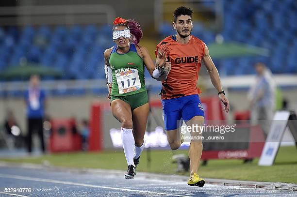 Therezinha Guilhermina and Rafael Lazarini competes the Women's 100m T11 Final during the Paralympics Athletics Grand Prix Aquece Rio Test Event for...