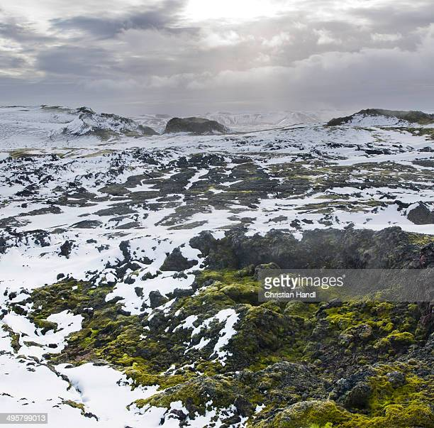 Thermal area of Leirhnjukur, snow-covered, Krafla, Northeastern Region, Iceland