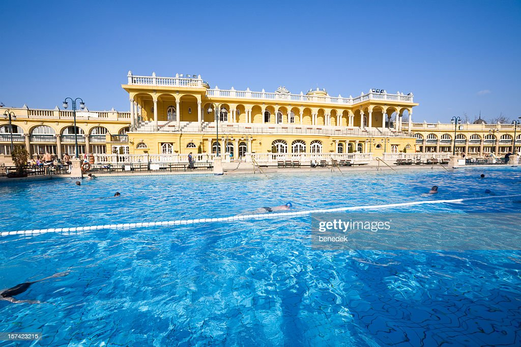 Thermal Bath Pool and Spa in Budapest : Stock Photo