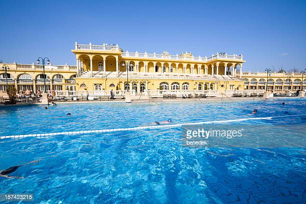 thermal bath pool and spa in budapest - budapest stock pictures, royalty-free photos & images
