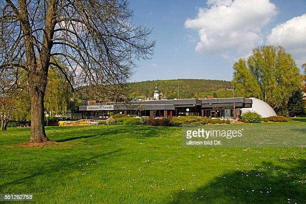 thermal baths gardens of the health resort of Bad Salzschlirf Fulda district Hesse Germany