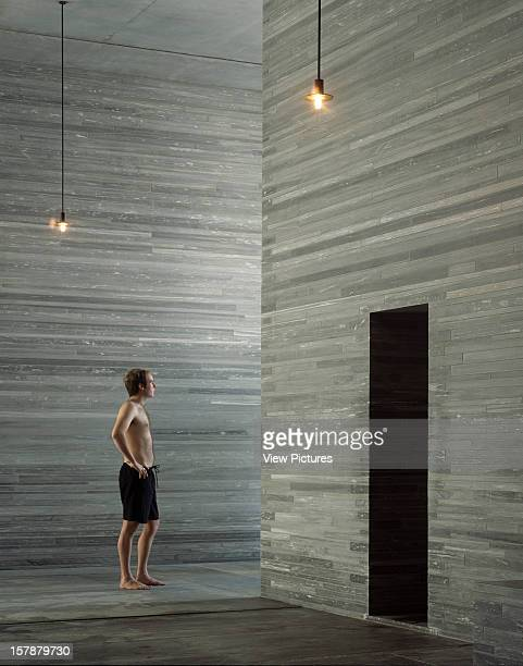 Thermal Baths Vals Switzerland Architect Peter Zumthor Thermal Baths Interior With Person