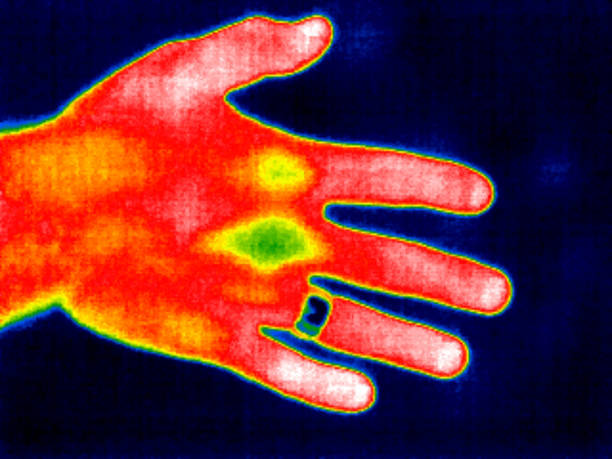 Thermal image of a person's hand showing different temperatures in different colours. .