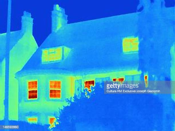 Thermal image of building by urban park