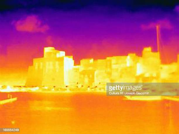 Thermal image of city skyline