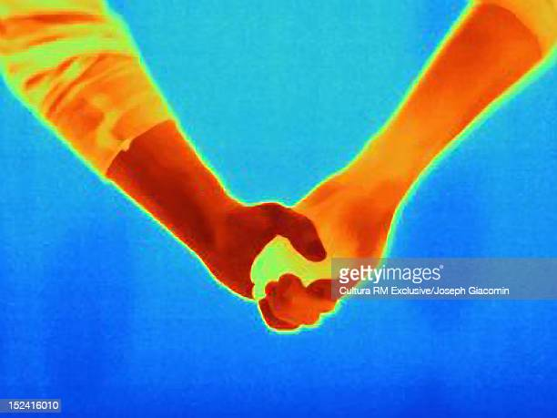 Thermal image of couple holding hands
