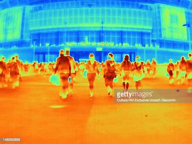 Thermal image of crowds outside shopping mall