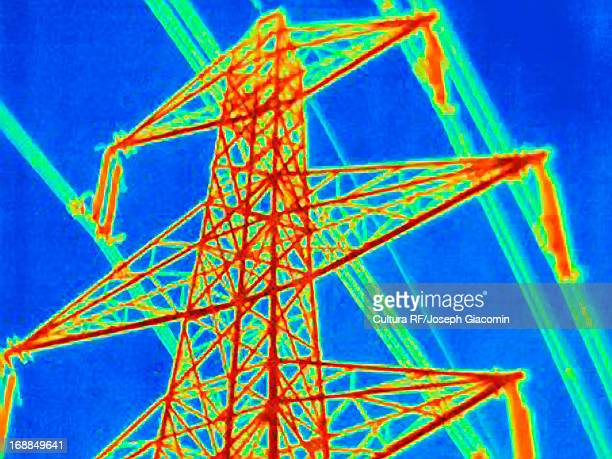 Thermal image of electrical tower and power lines