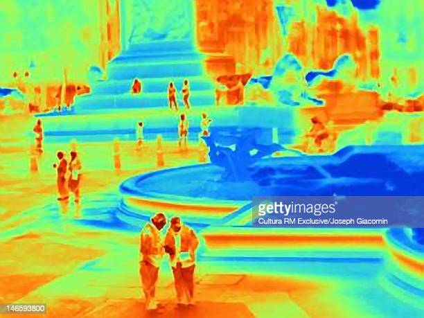 Thermal image of fountain in Trafalgar Square
