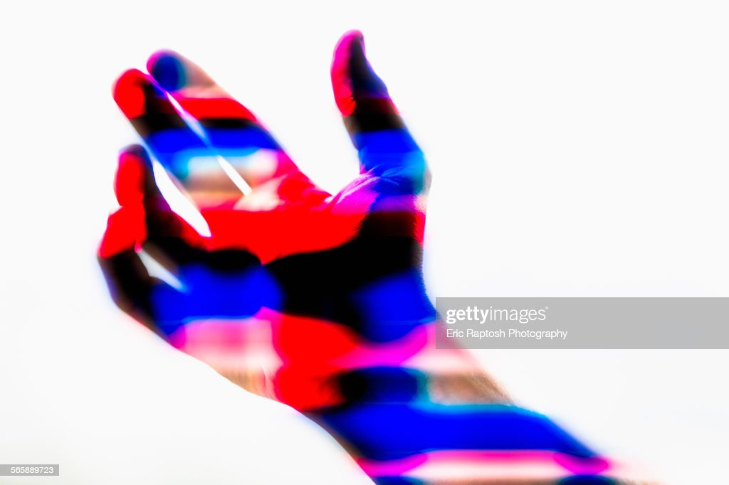 Thermal image of hand of Caucasian man : Stock Photo