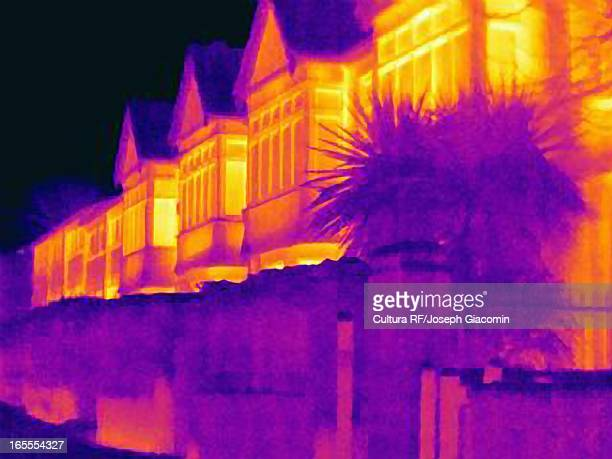 Thermal image of houses on city street