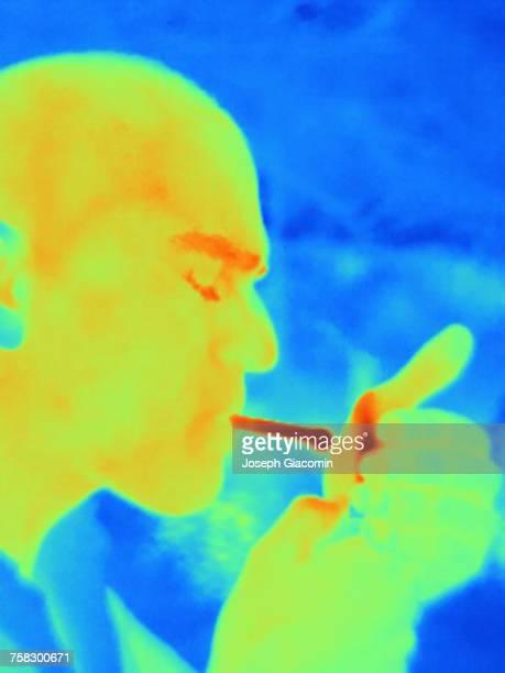 Thermal image of man smoking