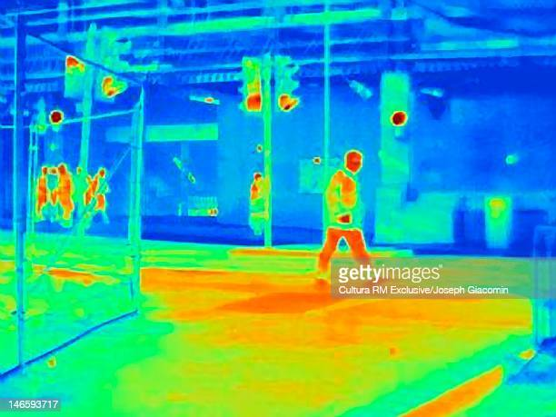 Thermal image of pedestrians on street
