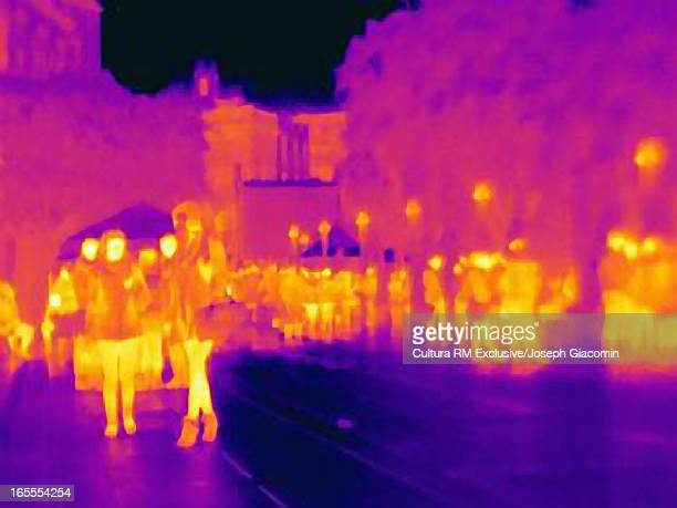 Thermal image of people on city street