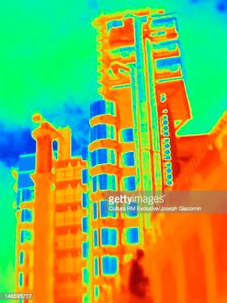 Thermal image of skyscrapers on city street