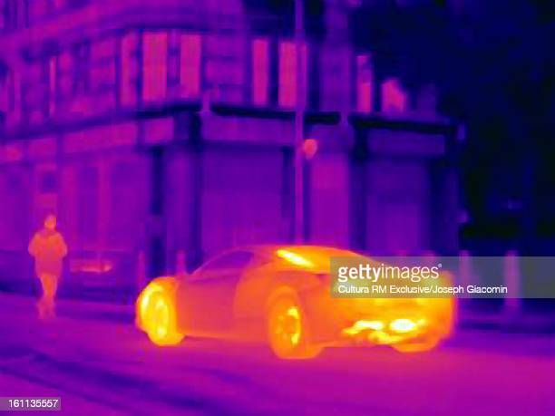 Thermal image of sports car