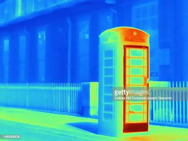 Thermal image of telephone box on street