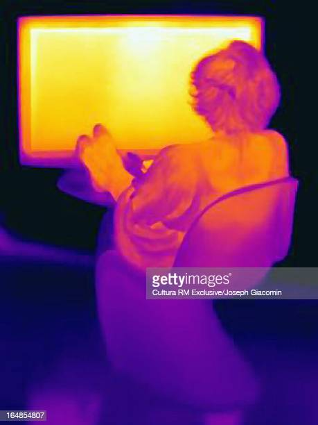 Thermal image of woman and television