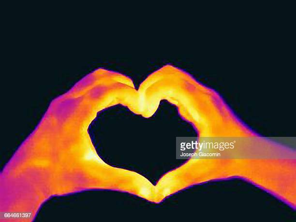 Thermal image of womans hands making a heart shape