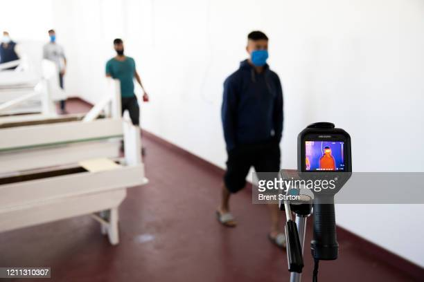 A thermal imaging camera system intended to be used for worker safety is tested by Fresh Harvest on April 28 2020 in Salinas California Owner Steve...