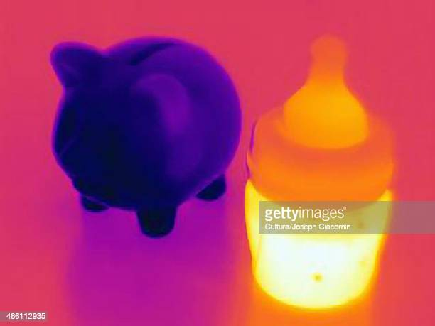 Thermal photograph of a piggy bank and of a baby bottle full of milk,  high cost of raising children
