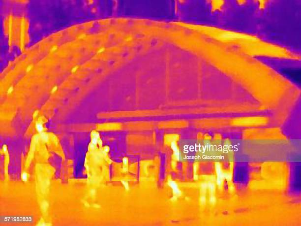 Thermal photograph of commuters in Canary Wharf station, London, UK