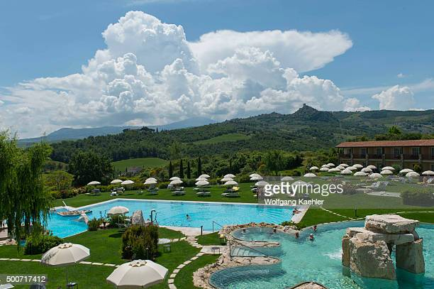 Thermal pool at Adler Thermae Spa & Relax Resort in Bagno Vignoni, near San Quirico in the Val d'Orcia near Pienza in Tuscany, Italy.