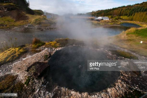 Thermal waters in Iceland Gamla Laughin better know as Secret Lagoon is the older one swimming pool in the country in Fludir area South Iceland