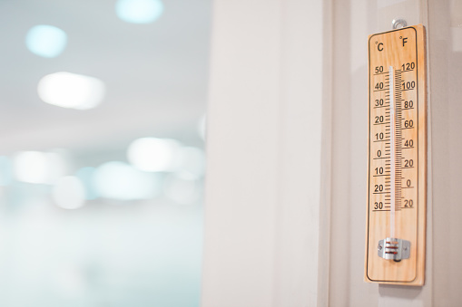 Thermometer in medical lab for measuring room temperature - gettyimageskorea