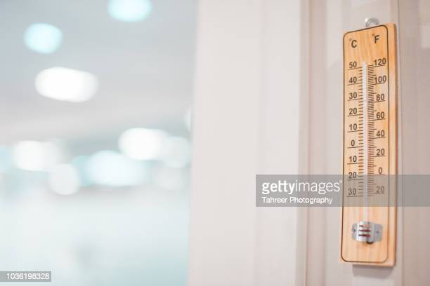thermometer in medical lab for measuring room temperature - cold temperature stock pictures, royalty-free photos & images