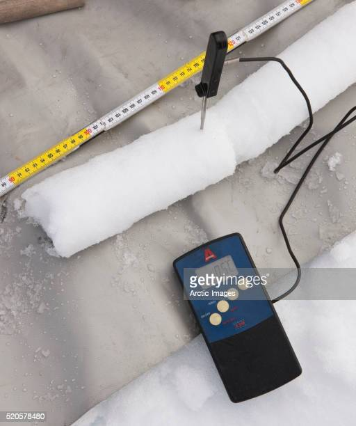 Thermometer measures temperature in ice core sample