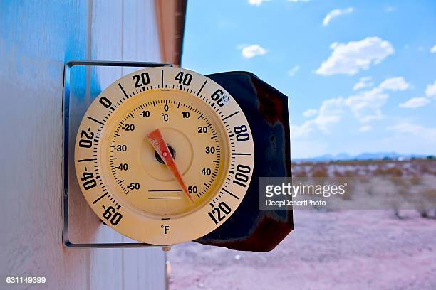 Thermometer on side of a house, Arizona, America, USA