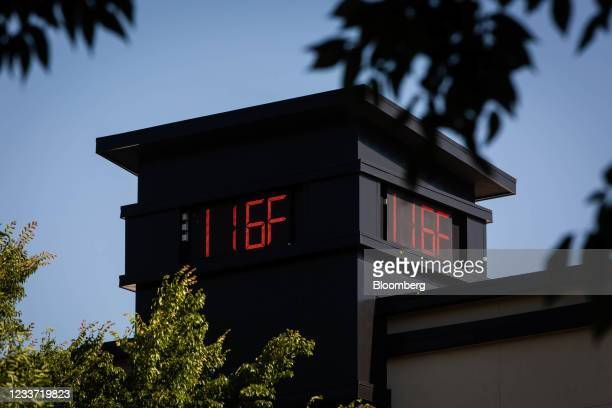 Thermometer reading 116 degrees Fahrenheit during a heatwave in Portland, Oregon, U.S., on Monday, June 28, 2021. The rare and...