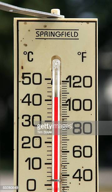 A thermometer registers 106 degrees in the sun outside a window of a home July 24 2005 in Des Plaines Illinois Extreme hot weather has hit several...