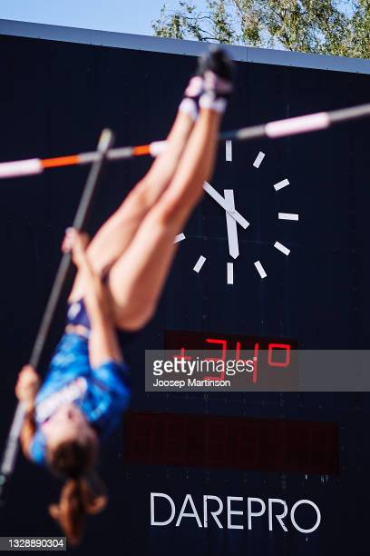Thermometer showing current temperature is pictured during European Athletics U20 Championships Day 1 at Kadriorg Stadium on July 15, 2021 in...