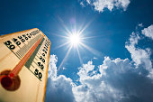 Thermometer Sun high Degres. Hot summer day. High Summer temperatures